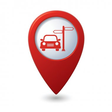 Car service icon on map pointer