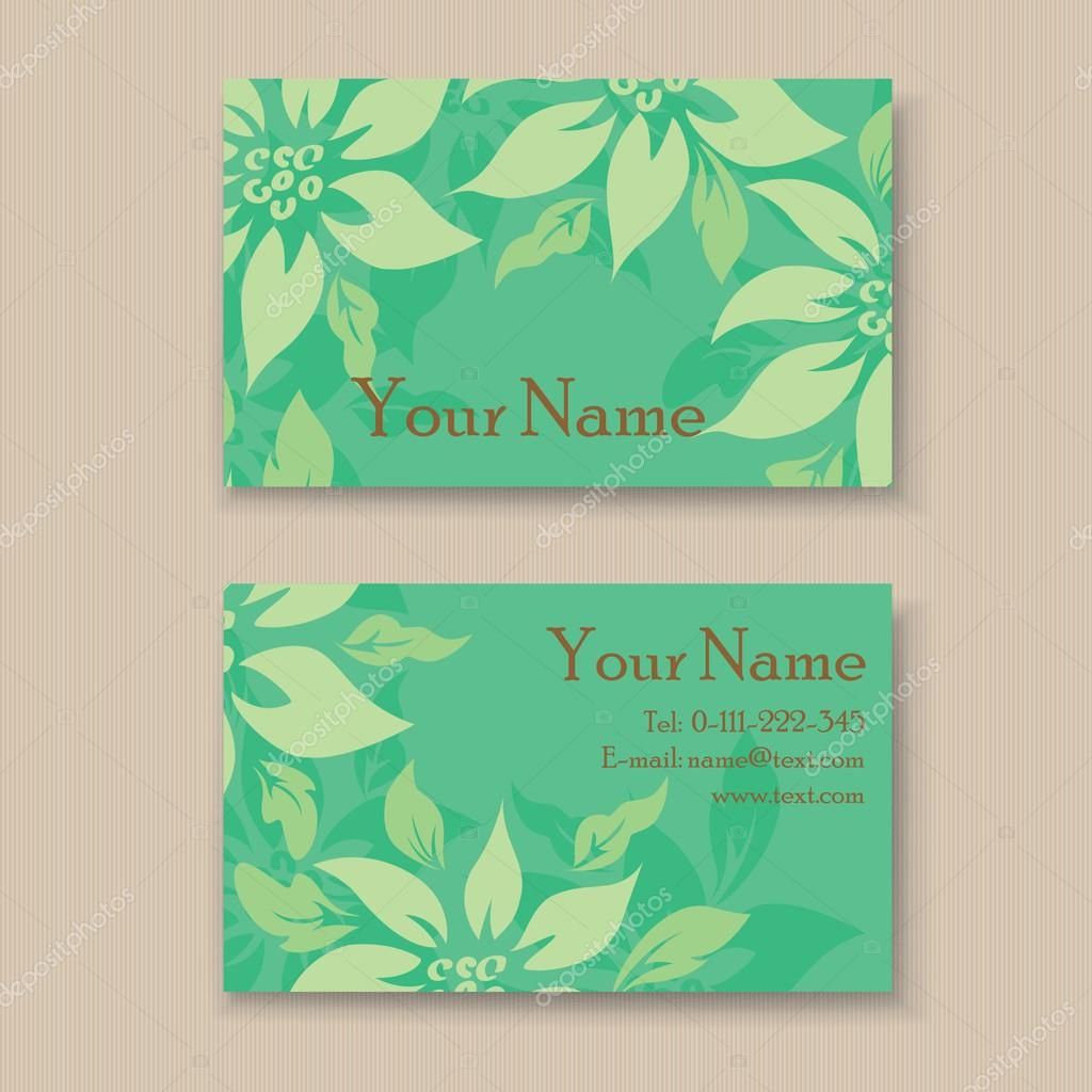 Beautiful floral business card template. — Stock Vector © ARNICA83 ...