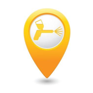 Yellow map pointer with spray gun icon. Vector illustration