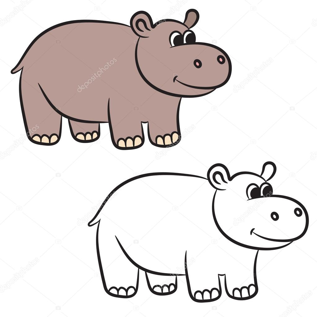 Cartoon Hippo Coloring Book Vector Illustration Stock Vector