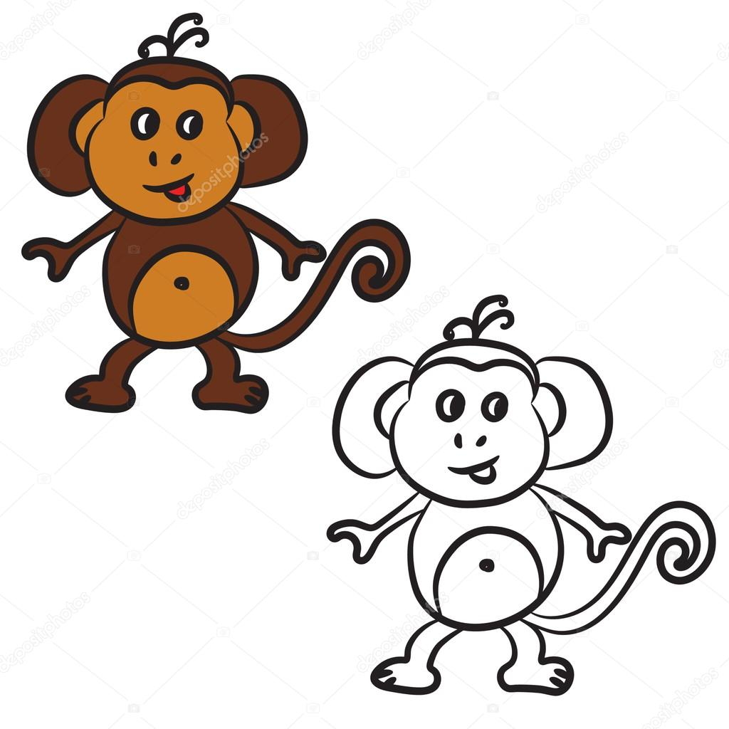 Pictures Printable Cartoon Monkey Cute Cartoon Monkey Coloring
