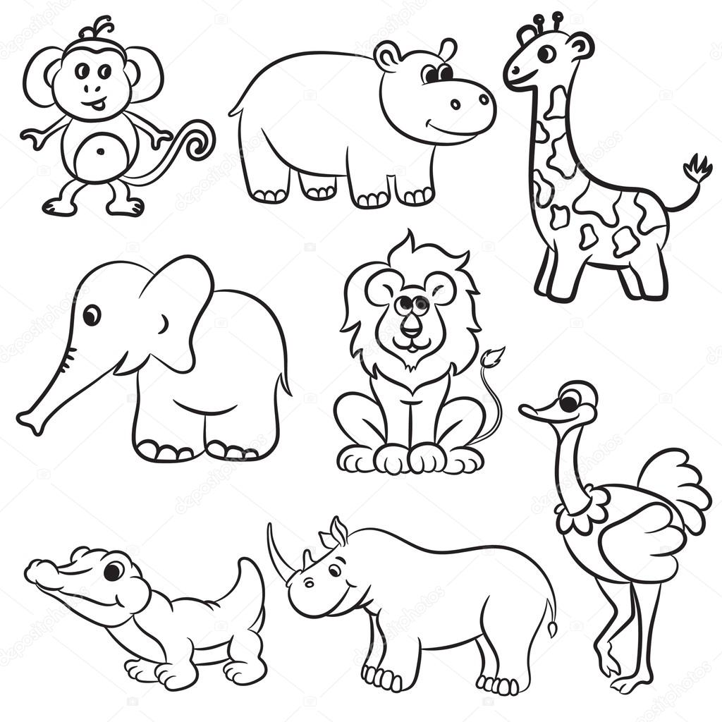 Cute outlined zoo animals collection. Vector illustration. stock vector