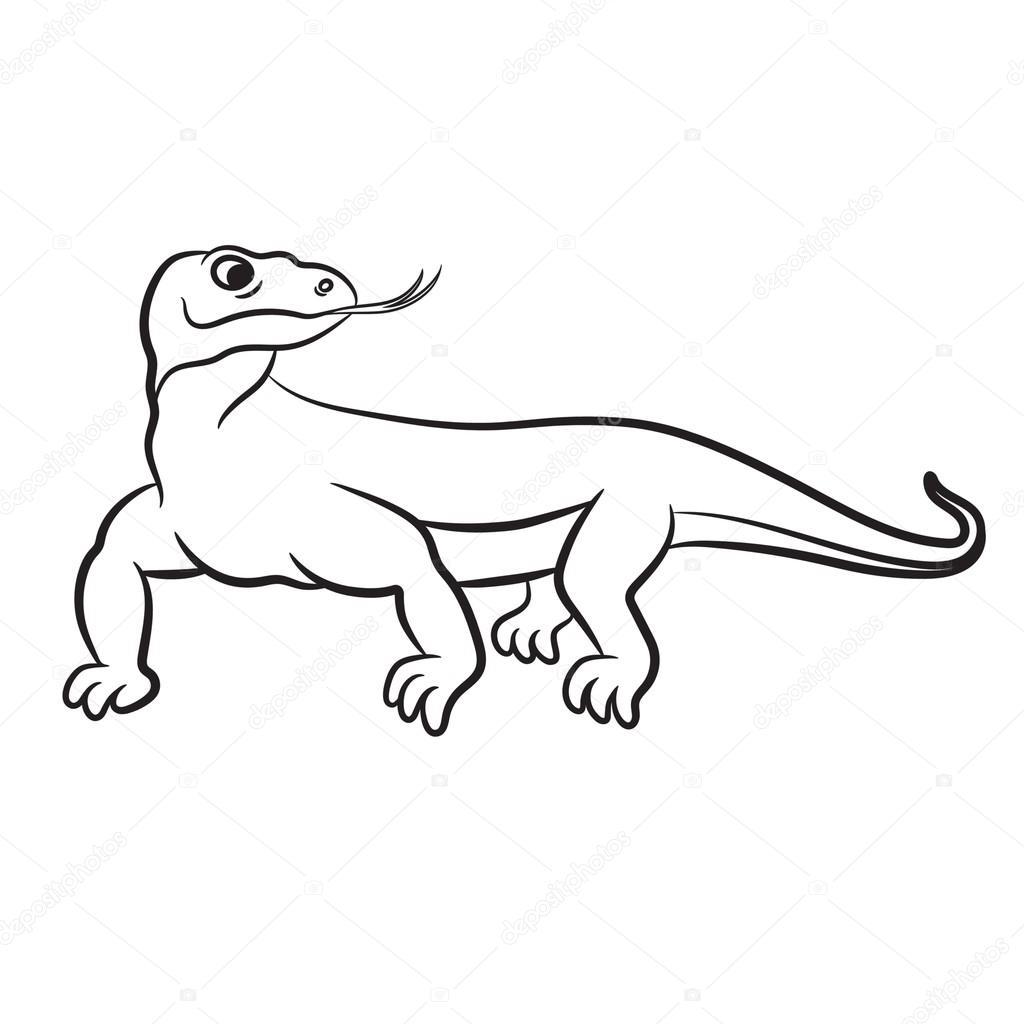 Ilustración de vector se varan (dragón de komodo). Aislado en blanco ...