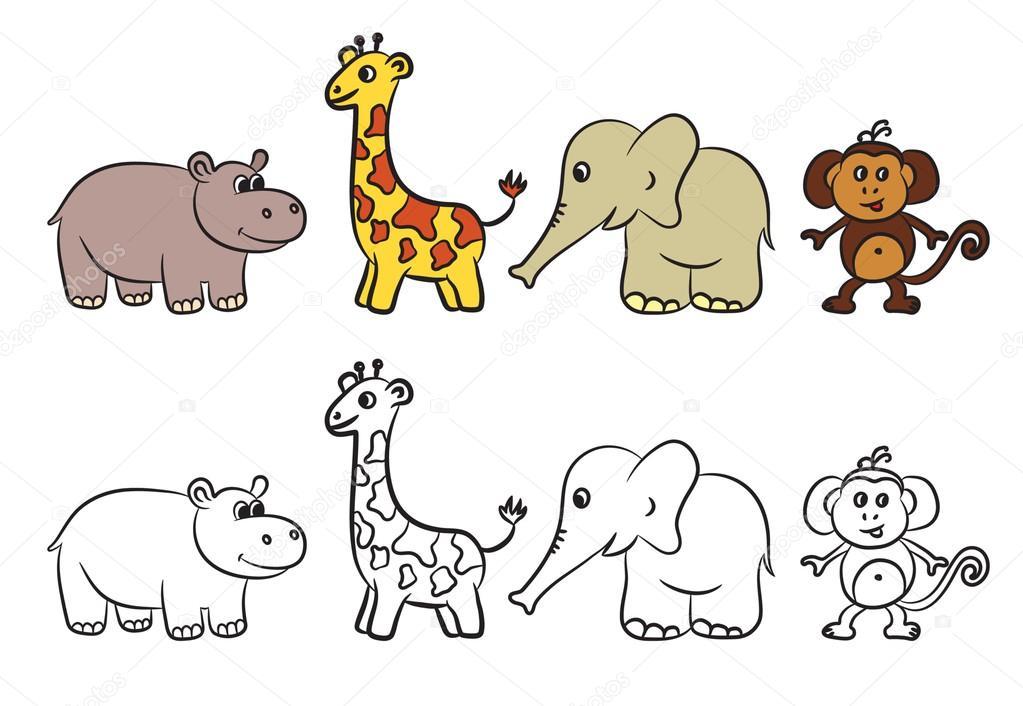colección de animales de zoológico lindo. libro para colorear ...