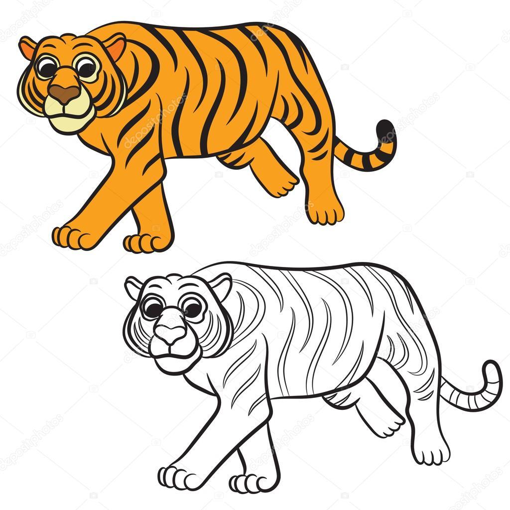 ilustracja tygrysa kolorowanka grafika wektorowa