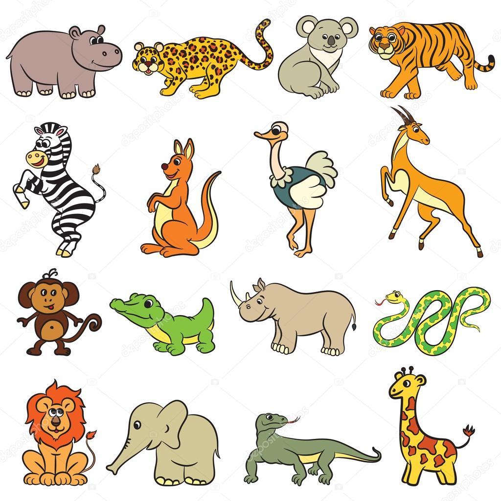 Colección de animales de zoológico lindo — Archivo Imágenes ...