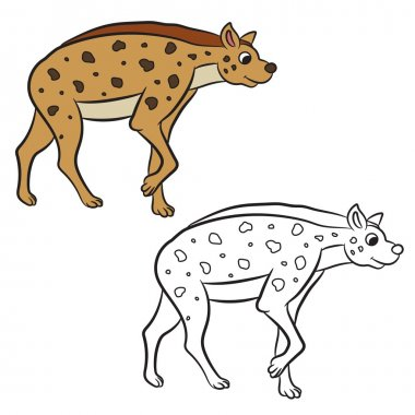 Illustration of hyena standing. Coloring book