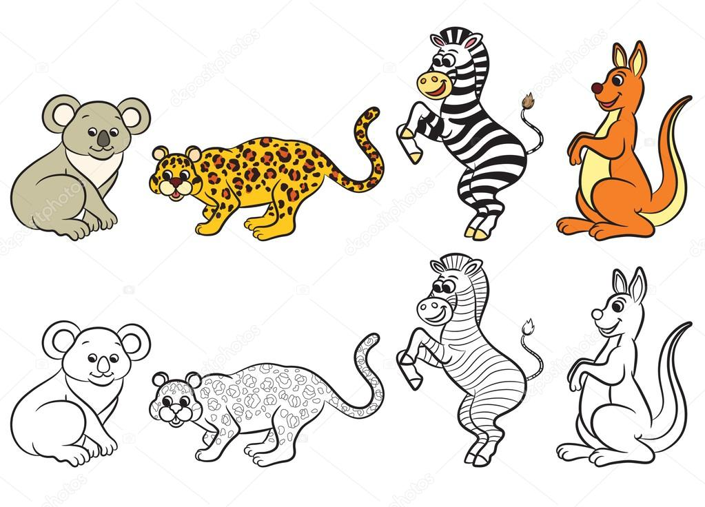 Cute Zoo Animals Collection Coloring Book Stock Vector 75190787