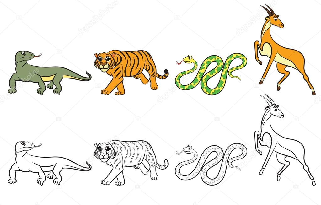 Cute zoo animals collection Coloring book Stock Vector