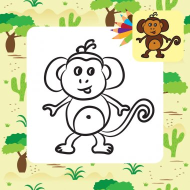Cute cartoon monkey. Coloring page. Vector illustration