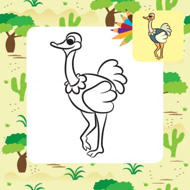 Cute cartoon ostrich. Coloring page. Vector illustration
