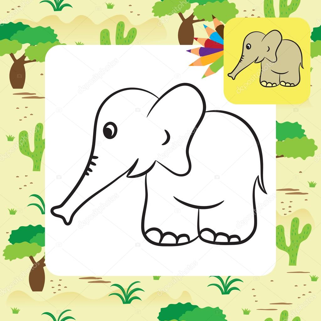 Coloriage Elephant Mignon.Elephant De Dessin Anime Mignon Coloriage Illustration Vectorielle