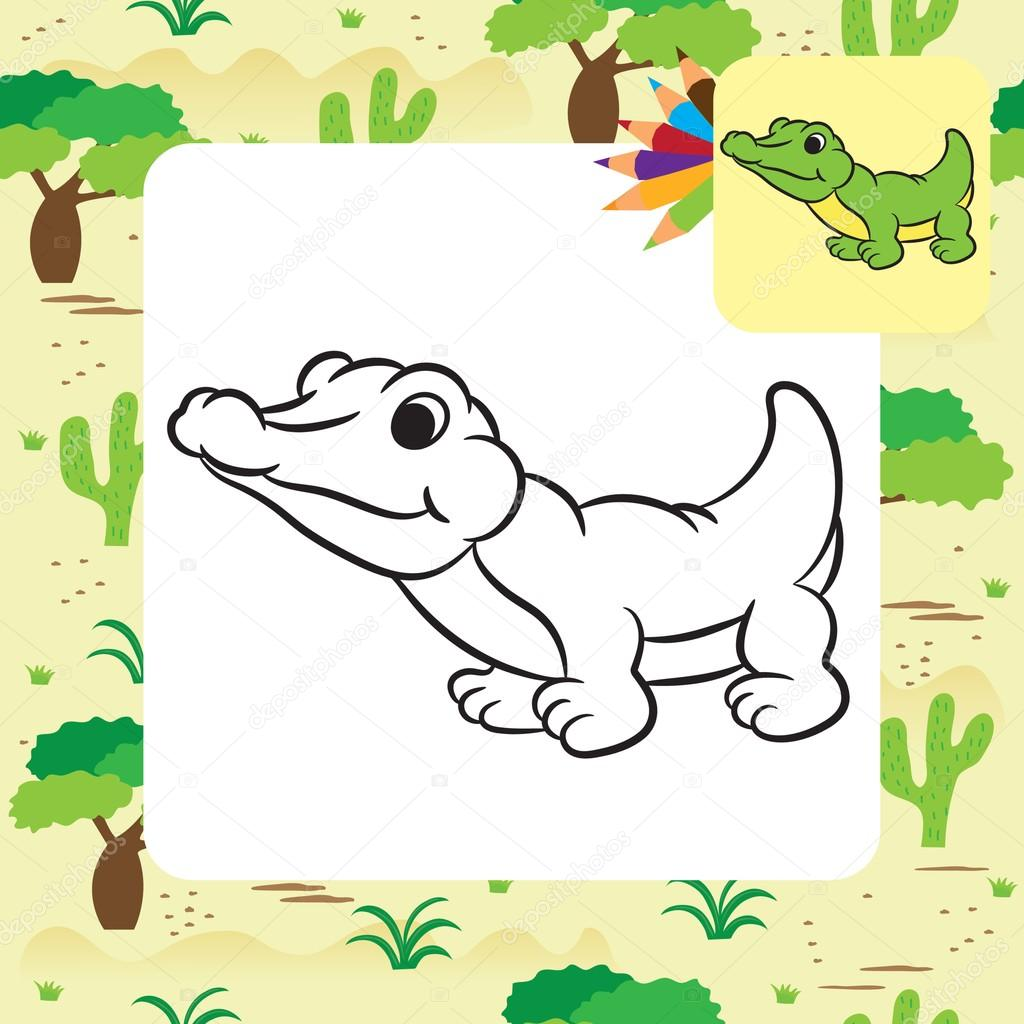 Cartoon Crocodile Coloring Page Vector Illustration Stock