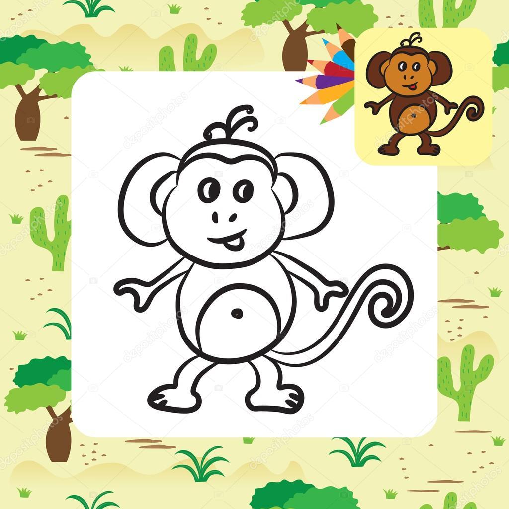Mono de dibujos animados lindo. Página para colorear. Ilustración de ...
