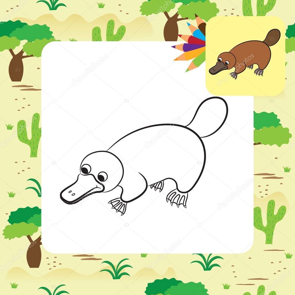 Ilustración de dibujos animados de animal ornitorrinco o pico de ...