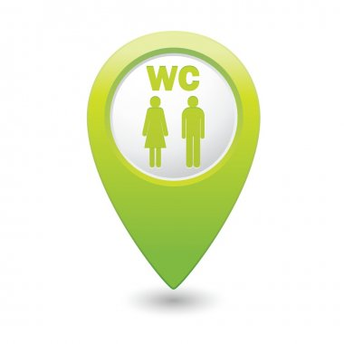 Green map pointer with restroom icon
