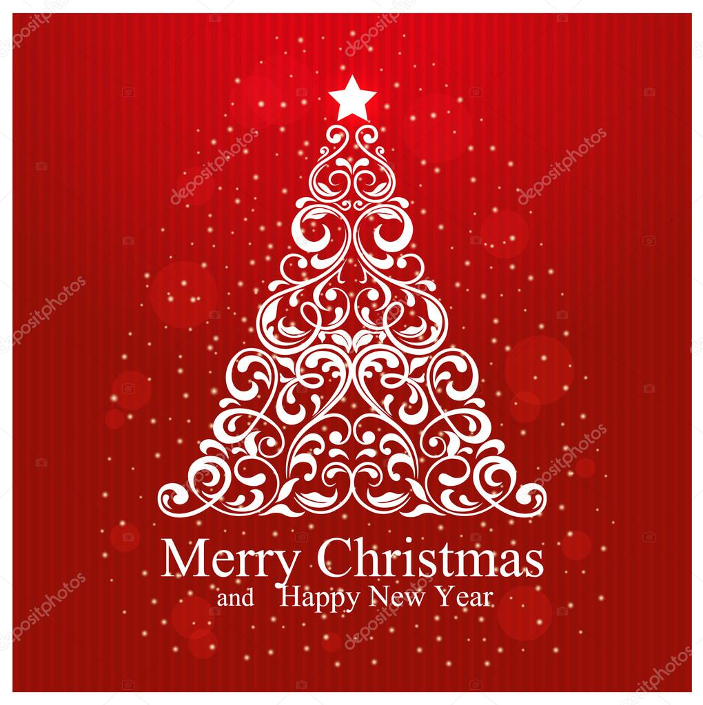 merry christmas and happy new year card with beautiful floral christmas tree stock vector