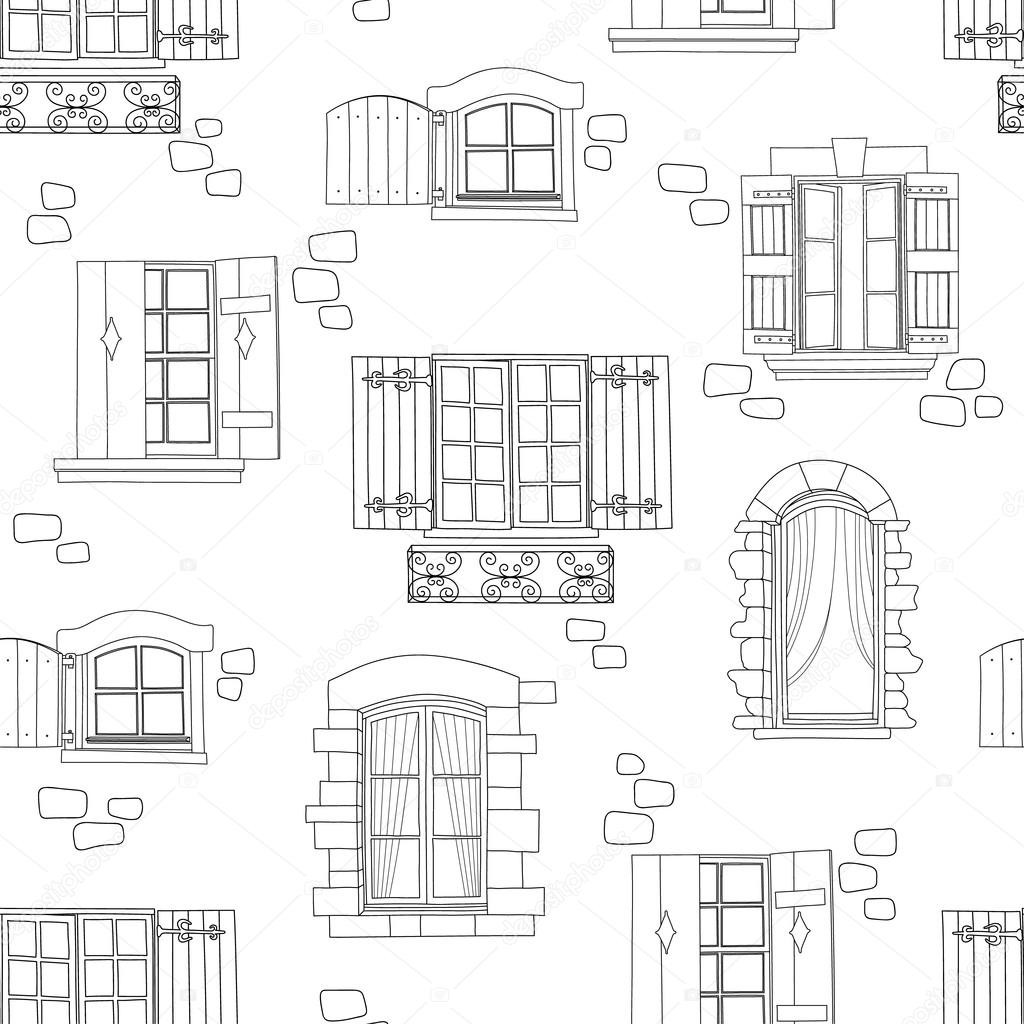 vintage window drawing. seamless pattern with vintage window \u2014 stock vector #92144992 drawing a
