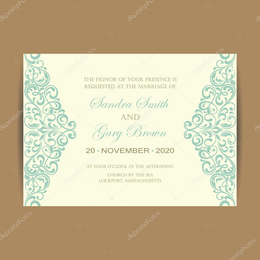 Beautiful vintage wedding invitation card — Stock Vector © ARNICA83 ...