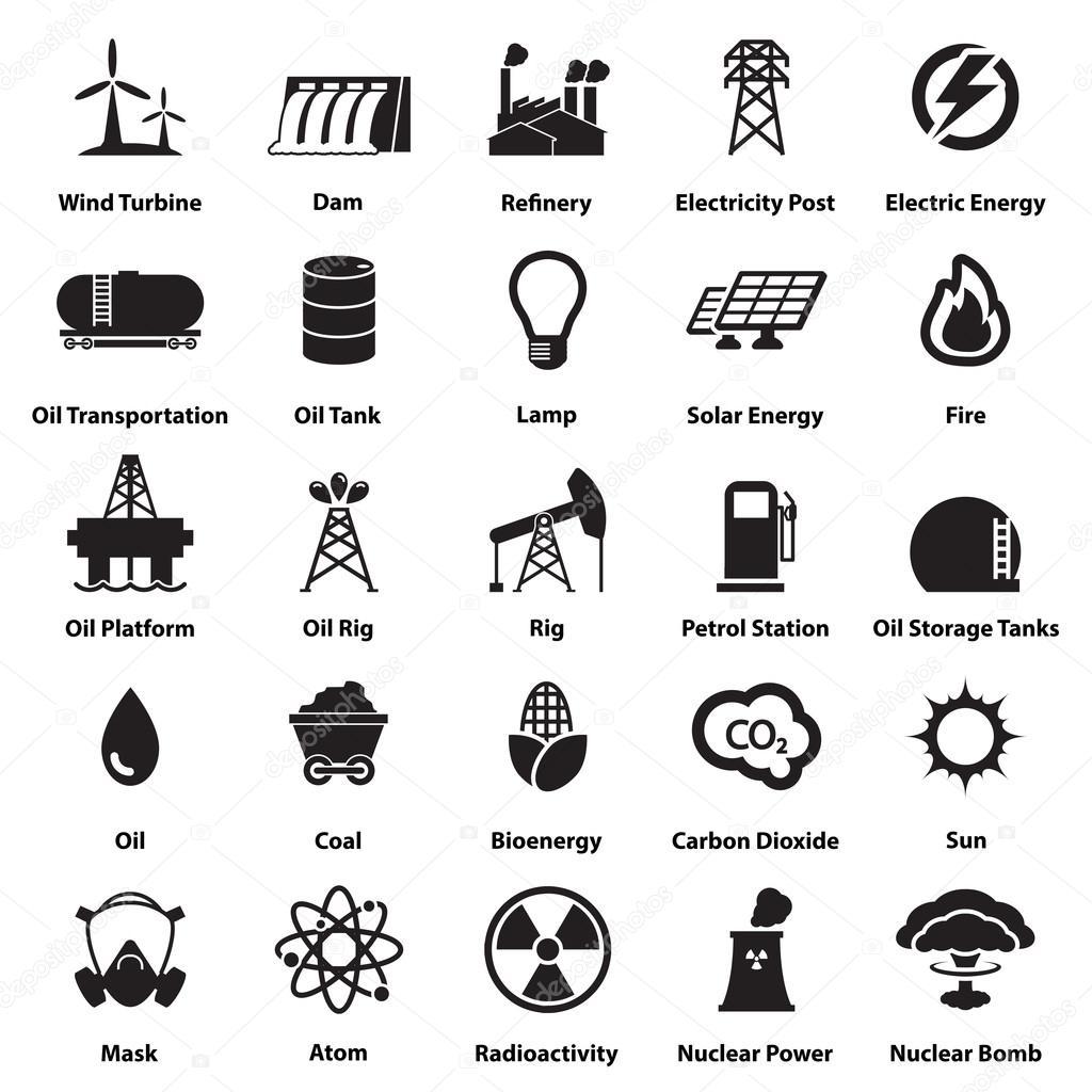 energía, electricidad, energía iconos signos y símbolos — Archivo ...