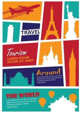 travel landmark background,Print size a4