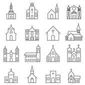 církevní stavba vektor sadu ikon