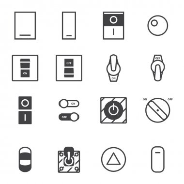 On Off switch icon set