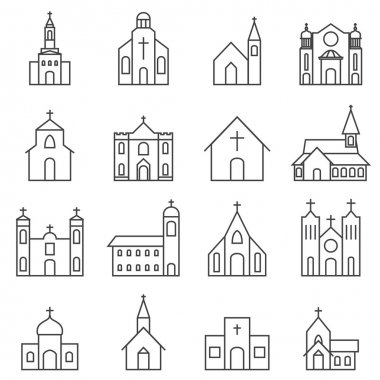 Church building icon vector set stock vector