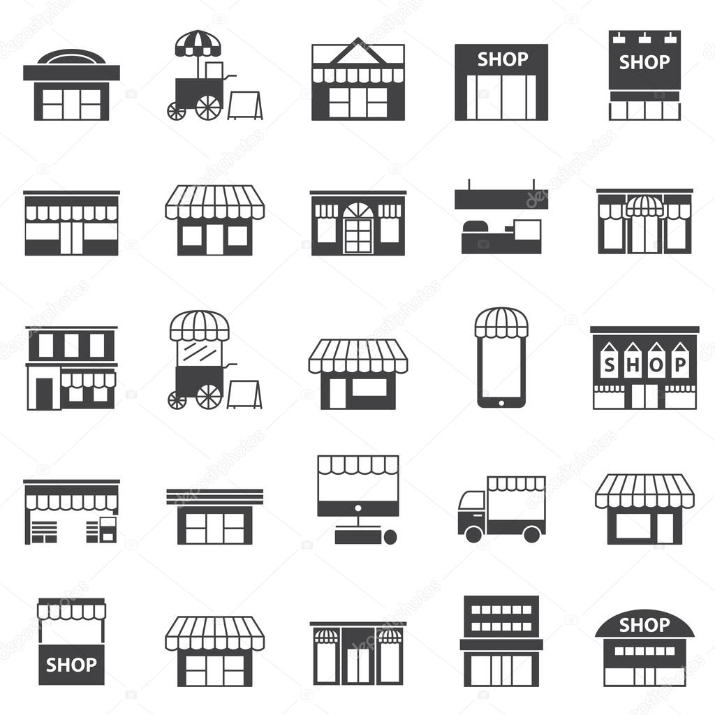 Store and building  icon set
