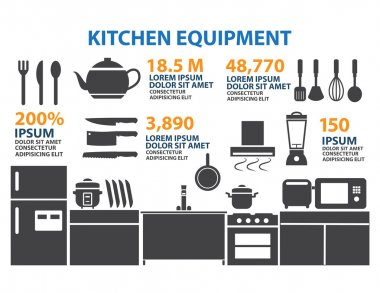 Kitchen Room Icon Infographic Elements