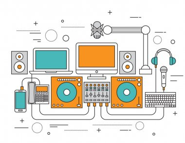 Set of Flat line icon & infographic design concept,dj equipment