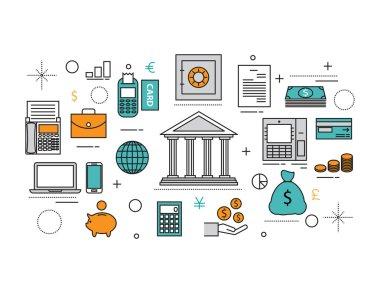 Set of Flat line icon & infographic design concept, financial pl