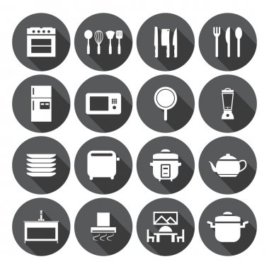 Kitchen room icon set
