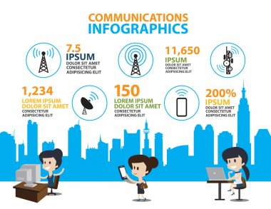 Set of Flat line icon & infographic design concept,communication