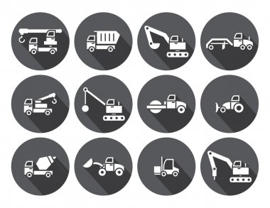 Construction Truck set,circular Labels