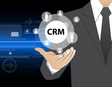 Concept Businessman in his hands ,CRM