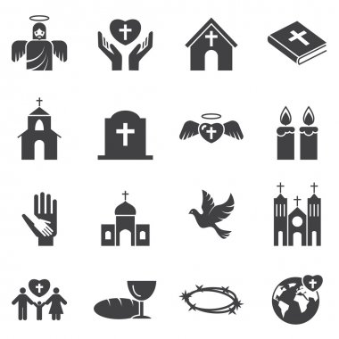 Christianity  religion icon set stock vector