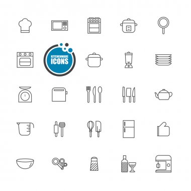 kitchenware icons line set