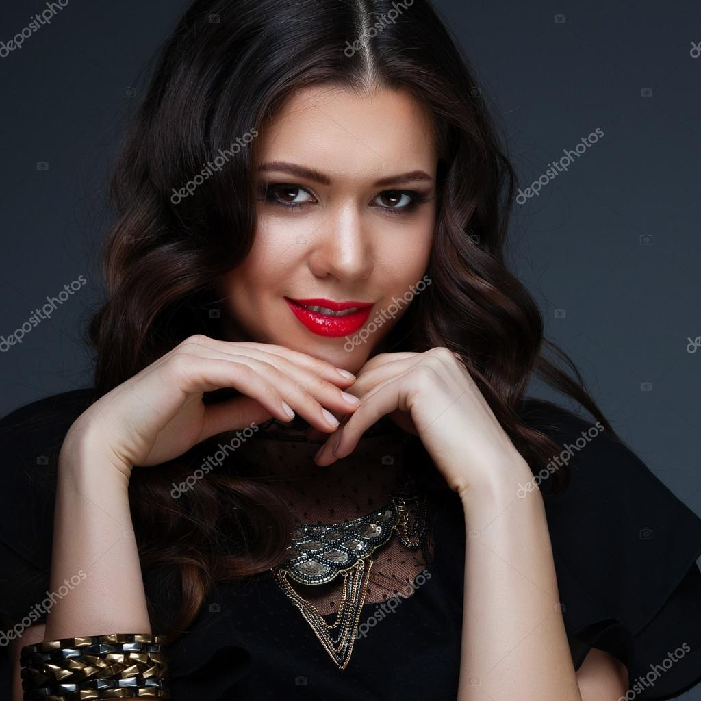 Black dress lipstick - Girl In A Black Dress And Red Lipstick Stock Photo 81968164