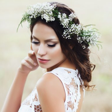 young  bride in wreath
