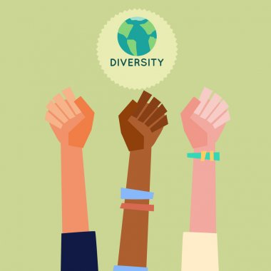 Illustration of a peoples hands with different skin color together. Race equality, diversity, tolerance illustration. Flat design style.