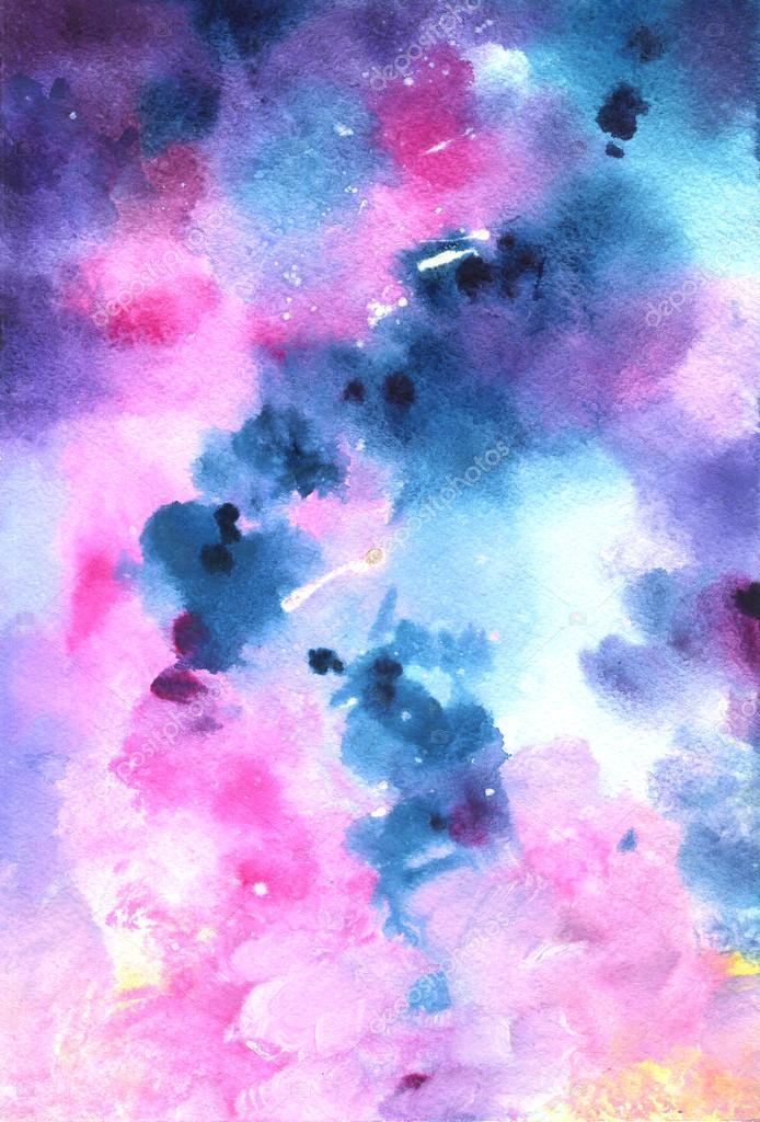 Watercolor cosmic background in neon colors with wet brush strokes and light splashes and stains. Galaxy and stars. Hand made illustration texture. Art design for print, card, template, wallpaper.
