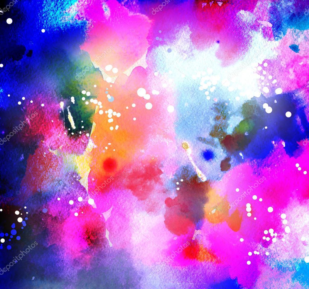 depositphotos 93818910 stock photo watercolor cosmic background in neon