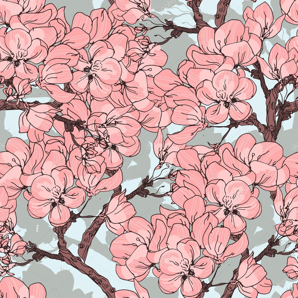 Cherry blossom vector background. Seamless flowers pattern.