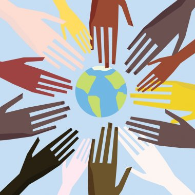 Illustration of a peoples hands with different skin color together. Race equality, tolerance illustration.