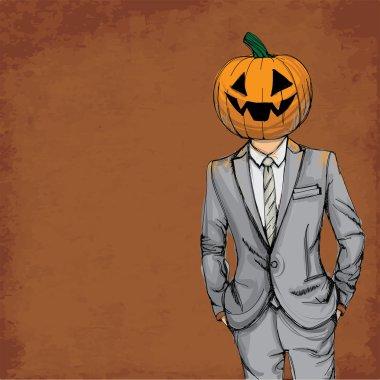 Man with pumpkin head in suit