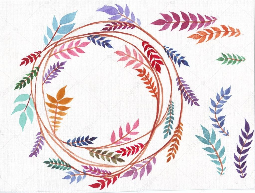 wreaths and laurel.Hand painted branches,leaves,leaf,petal decor elements.For design template,invitation.Watercolor Hand sketched brushes texture. Nature,organic items.Vector