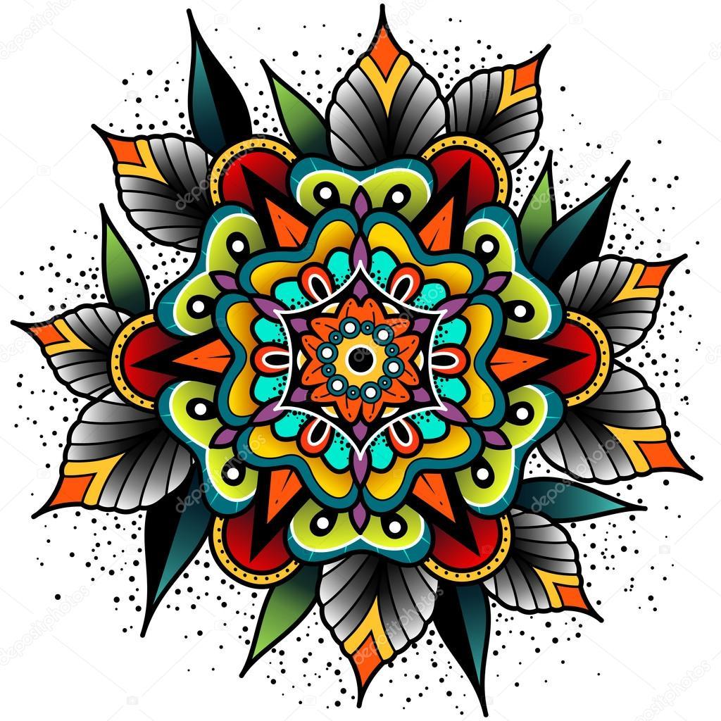 Old School Tattoo Flower Stock Vector Helenadamova 110674682