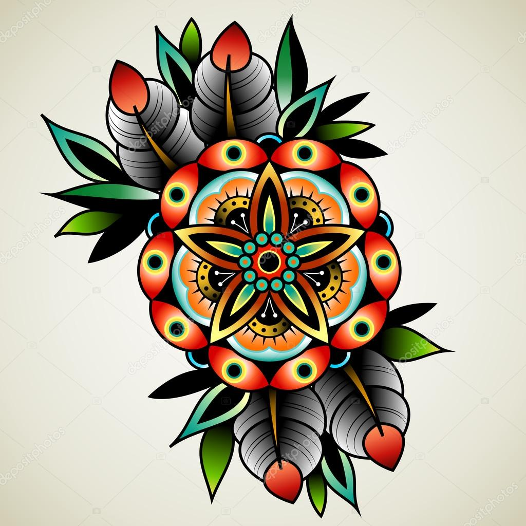 Old School Tattoo Flower Stock Vector Helenadamova 94294992