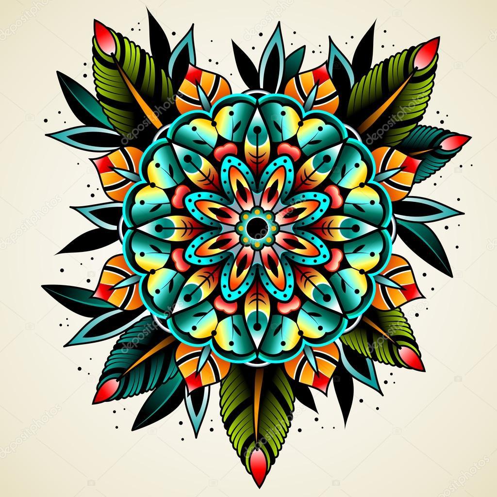 Foto Ilustraciones De Tatuajes De La Vieja Escuela Flor Del
